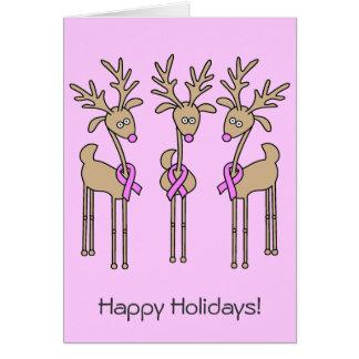Reno rosado de la cinta - cáncer de pecho tarjeta de felicitación