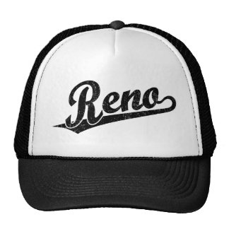 Reno script logo in black distressed trucker hat