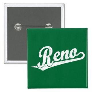 Reno script logo in white distressed button