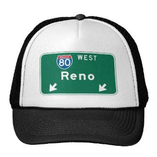 Reno, señal de tráfico del nanovoltio gorras