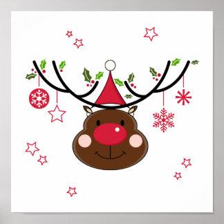 Reno sonriente del navidad póster