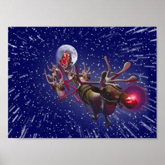 Reno sospechado rojo de Papá Noel del vuelo Póster