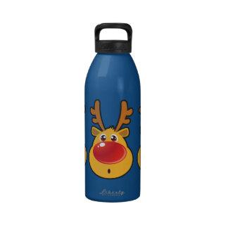 Reno sospechado rojo Rudolph Botellas De Agua Reutilizables