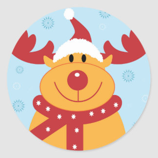 ¡Reno tonto lindo del navidad! (Personalizar él!) Pegatina Redonda