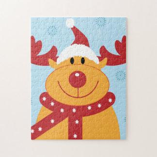 ¡Reno tonto lindo del navidad! (Personalizar él!) Puzzle