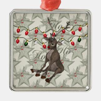 Reno y luces de navidad adorno navideño cuadrado de metal