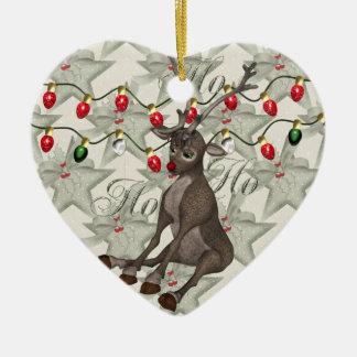 Reno y luces de navidad adorno navideño de cerámica en forma de corazón