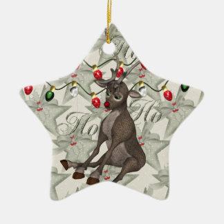 Reno y luces de navidad adorno navideño de cerámica en forma de estrella