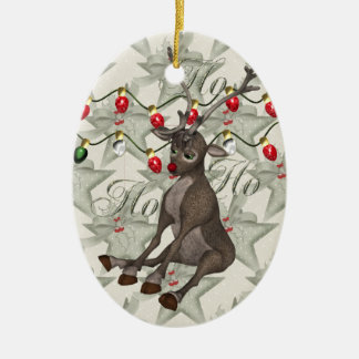Reno y luces de navidad adorno navideño ovalado de cerámica