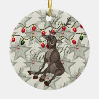 Reno y luces de navidad adorno navideño redondo de cerámica