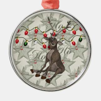 Reno y luces de navidad adorno navideño redondo de metal