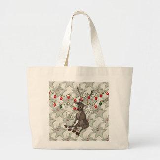 Reno y luces de navidad bolsas lienzo