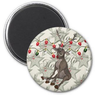 Reno y luces de navidad imán redondo 5 cm