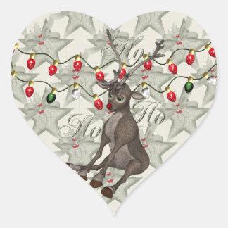 Reno y luces de navidad pegatina en forma de corazón