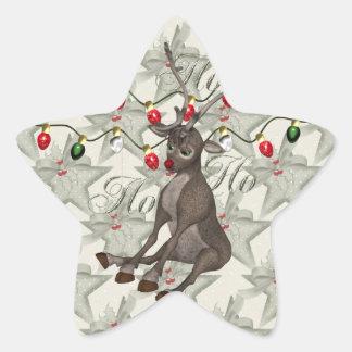 Reno y luces de navidad pegatina en forma de estrella