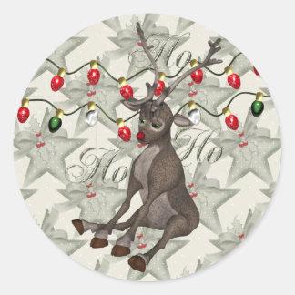 Reno y luces de navidad pegatina redonda