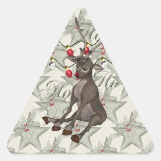 Reno y luces de navidad pegatina triangular