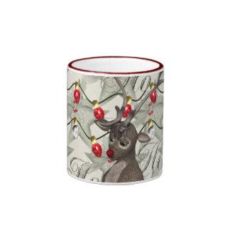 Reno y luces de navidad taza de café