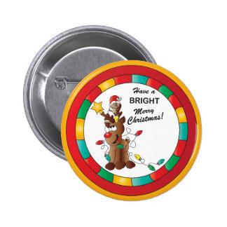 Reno y ratón felices y brillantes del navidad pin redondo de 2 pulgadas