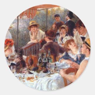 Renoir: Alumerzo del fiesta del canotaje Etiquetas Redondas