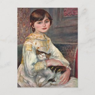 Renoir Art Postcard: Mlle. Julie Manet with Cat postcard