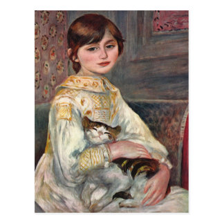 Renoir Art Postcard: Mlle. Julie Manet with Cat Postcard