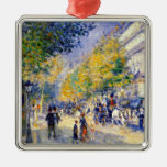 Renoir art: The Great Boulevards painting Square Metal Christmas Ornament