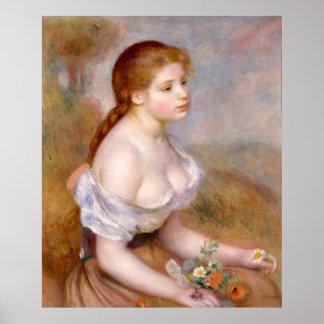 Renoir, chica joven con las margaritas póster