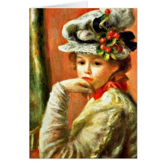 Renoir - chica joven en un gorra blanco tarjeton