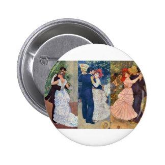 Renoir - danza en la ciudad, el país, y el Bougiva Pin Redondo De 2 Pulgadas