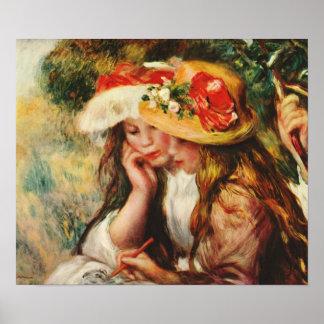 Renoir dos chicas que leen en el poster del jardín