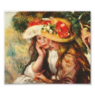 Renoir dos chicas que leen en la impresión del jar fotografía