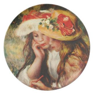 Renoir dos chicas que leen en la placa del jardín plato de comida