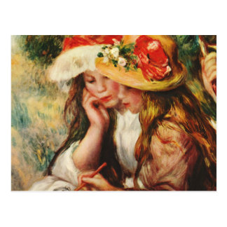 Renoir dos chicas que leen en la postal del jardín