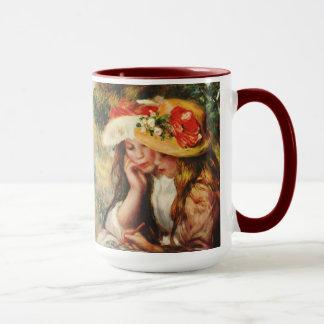 Renoir dos chicas que leen en la taza del jardín