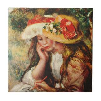 Renoir dos chicas que leen en la teja del jardín