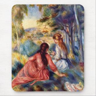 Renoir Dos chicas que se sientan en hierba Tapete De Raton