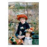 Renoir dos hermanas en la bella arte del vintage d tarjeta