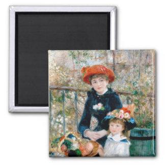Renoir dos hermanas en la bella arte del vintage imán cuadrado
