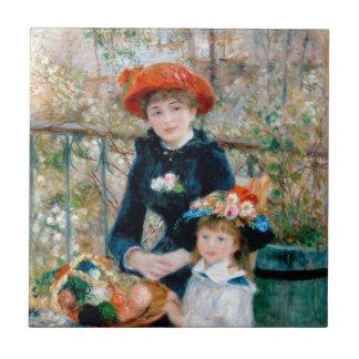 """Renoir """"dos hermanas (en la terraza) """" azulejo cuadrado pequeño"""