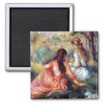 Renoir: En el prado Imán Cuadrado