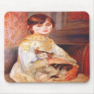 Renoir Girl With Cat Mouse Pad