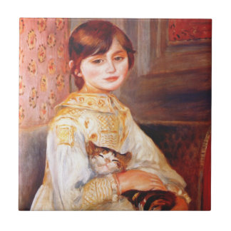 Renoir Girl With Cat Tile