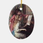 Renoir: Girls at the Piano Double-Sided Oval Ceramic Christmas Ornament