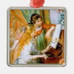 Renoir: Girls at the Piano Square Metal Christmas Ornament