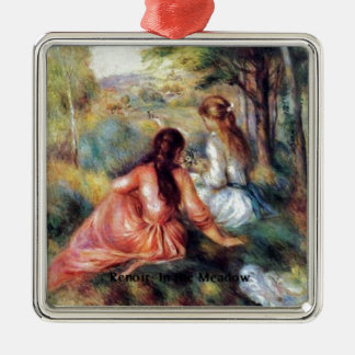 Renoir: In the Meadow Square Metal Christmas Ornament
