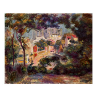 Renoir - Landscape with the view of Sacre Coeur Poster
