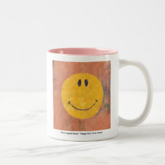 renoir painted happy face mug