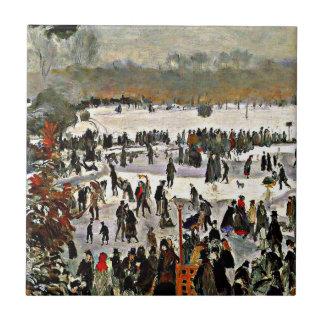 Renoir - patinadores en el Bois de Boulogne-1868 Azulejo Cuadrado Pequeño
