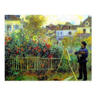 Renoir - pintura de Monet en su jardín Postal